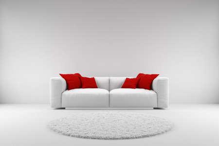Witte bank met rode kussens en tapijt met een kopie ruimte Stockfoto