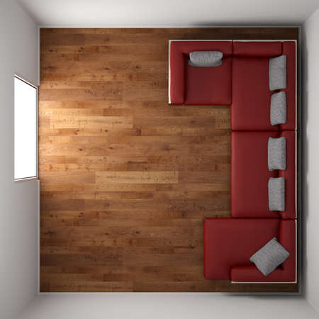 top angle view: Wooden floor texture with red leather couch and pillow top view