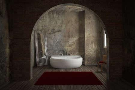 Vintage-Badezimmer mit Ziegelmauer und großen Spiegel Standard-Bild - 31237986