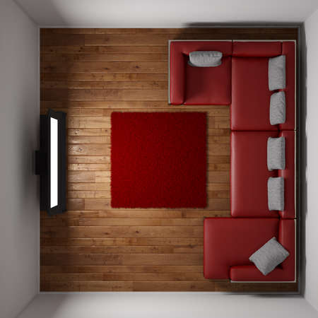 red sofa: Top view of room with TV and red carpet