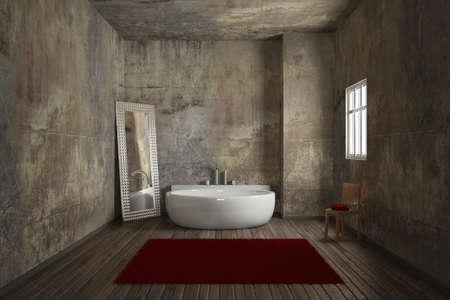 Vintage bathroom with brick wall and big mirror