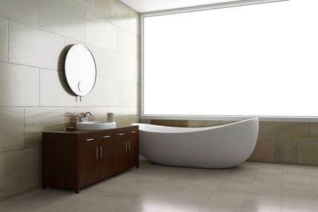Bathroom with tube and mirror with bright window