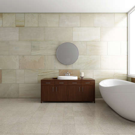Badezimmer mit Wanne und Spiegel mit hellen Fenster Standard-Bild - 32126041