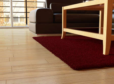 Carpet closeup with hard wood floor and leather couch