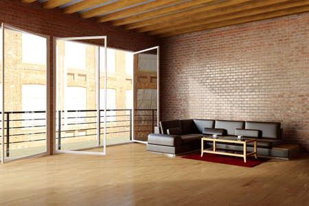 도시 환경에서 된 brickwall과 검은 색 가죽 소파 로프트