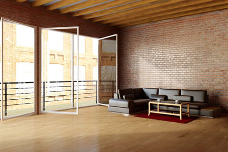 luxury living room: Loft with brickwall and black leather sofa in urban environment