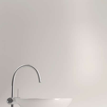 wash basin: Sink with copyspace and grey background for text