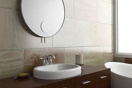 거울과 세면대 밝은 창 욕실