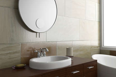 Bathroom with mirror and sink and bright window photo