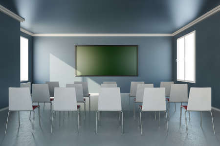 Frontal view in training room with chalkboard Stock Photo