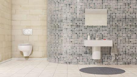 Badezimmer mit Waschbecken und Fliesen Standard-Bild - 44034191