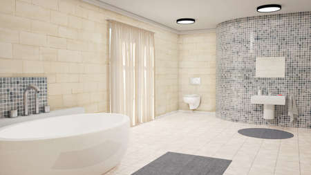 lightings: Bathroom with curtains bath tub and carpet