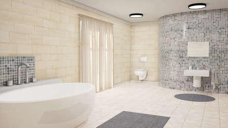 alumbrado: Cuarto de baño con bañera de cortinas de baño y alfombras