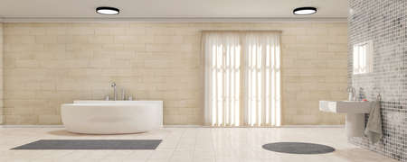 cuarto de baño: Cuarto de baño con bañera de cortinas de baño y alfombras