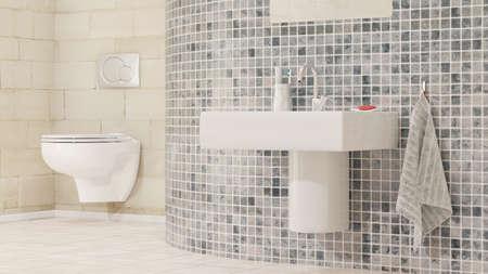 Badezimmer mit Waschbecken und Fliesen Standard-Bild - 44034194