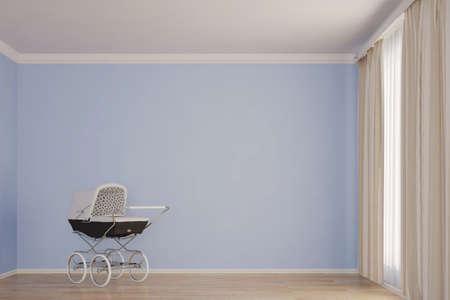 Leere Kinderzimmer mit Kinderwagen blauer Wand Standard-Bild - 44034195