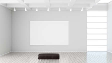 modern museum with blank canvas 版權商用圖片 - 72485664