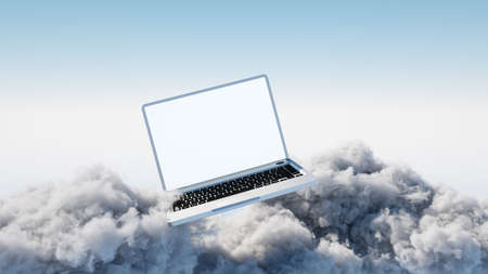 Laptop in the sky as cloud computing concept