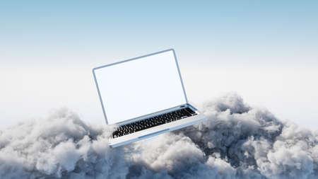 Laptop im Himmel als Datenverarbeitungskonzept der Wolke Standard-Bild - 84444151