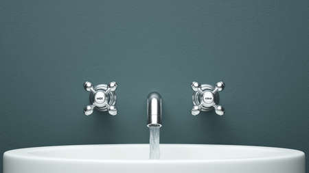 Modern faucet frontal view with green wall
