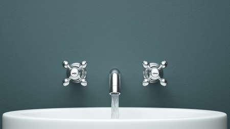 modern faucet with flowing water Standard-Bild