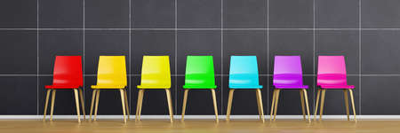 Row of chairs with rainbow colors in front of a black wall 3d rendering