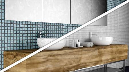 Konzept des alten gegen neues Badezimmer Standard-Bild - 87015278