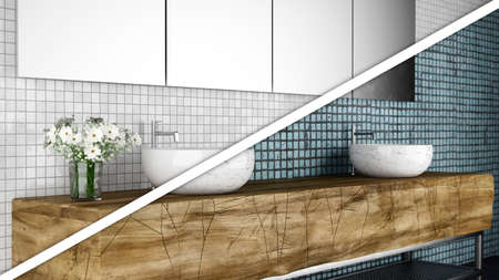 concept of new vs. old bathroom Stok Fotoğraf