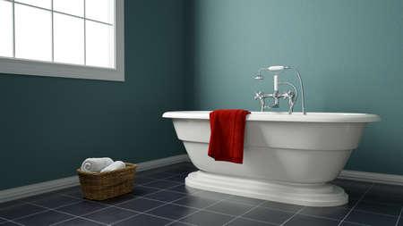 Modernes Badezimmer mit grünen Wänden und Handtüchern Standard-Bild - 87157042