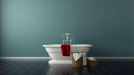 minimal bathroom with tub Standard-Bild