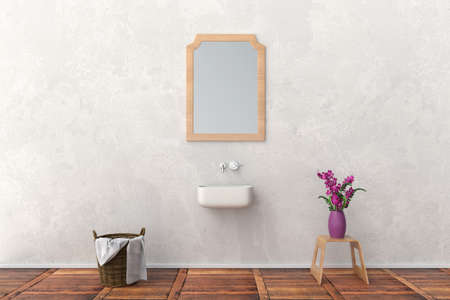 modern bathroom with flowers 版權商用圖片 - 87237593