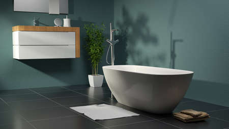 green bathroom with plant and basin 스톡 콘텐츠