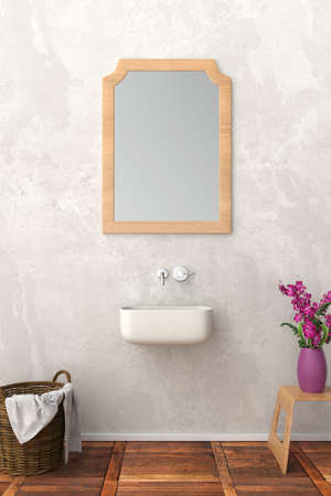 modern bathroom with mirror upright format
