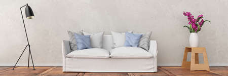 Sofa in front of wall panorama
