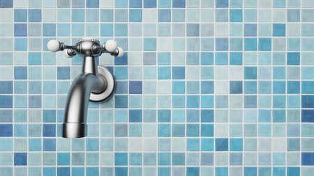 Chrome Wasserhahn auf Fliesen Standard-Bild - 87237595