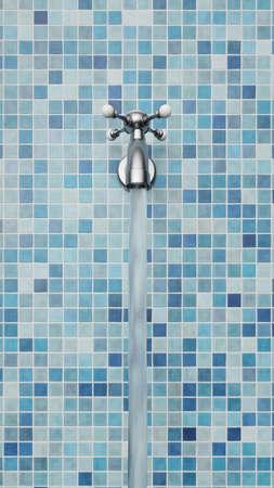 Chrome Wasserhahn auf Fliesen aufrecht Standard-Bild - 87298748