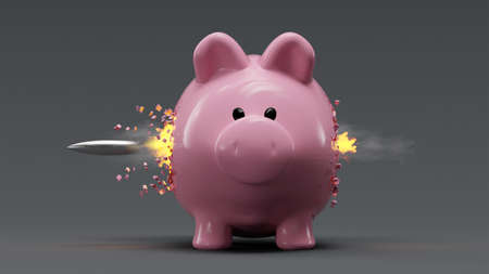 Piggy bank hit by a bullet exploding 版權商用圖片