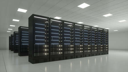 datacenter with black racks