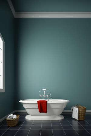 modern bathroom with green wall Standard-Bild