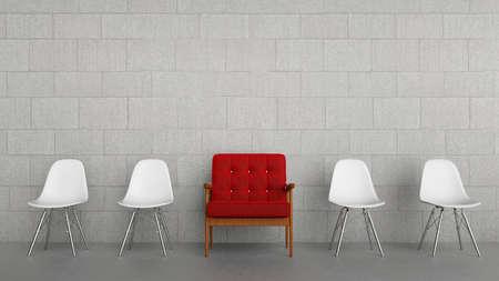 Row von Stühlen mit einem roten und großen Standard-Bild - 87015288