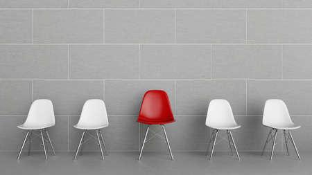 Reihe der Stühle mit einem Rot Standard-Bild - 87015289