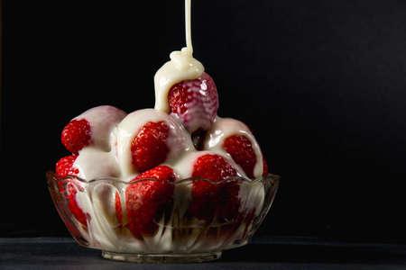 condensed: Strawberry with condensed milk Stock Photo