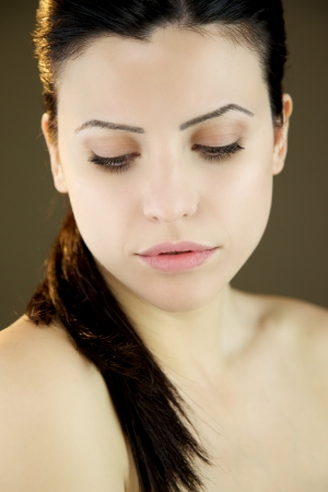 Pure image of female model closing eyes