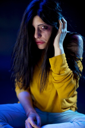 adult rape: lonely desperate sad beautiful woman with brooses and wound domestic violence rape Stock Photo