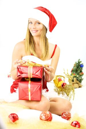 Happy woman santa claus smiling for christmas photo