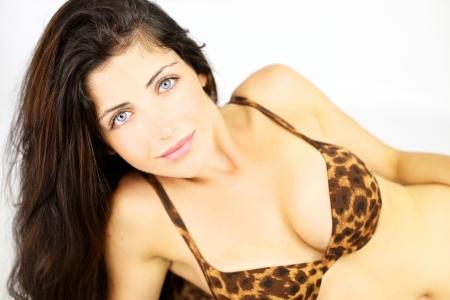 beauty breast: Very good looking woman smiling happy in bikini