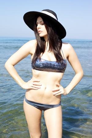 blue bikini: Beautiful nature sea with fantastic top model