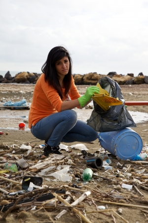 sea pollution: Environmental disaster in Italy on the beach Stock Photo