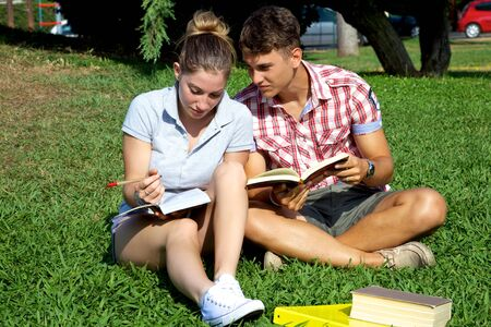 Good looking models sitting on green grass studying smiling