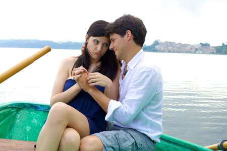 forgiving: Woman forgiving young husband in love